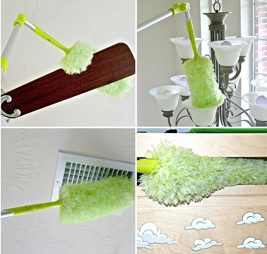 the fluffy duster reaching the top of a ceiling fan, the bulb of a chandelier, an air vent, and between narrow shelves