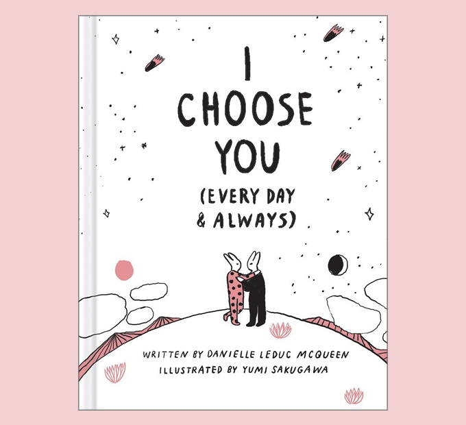 book cover that says i choose you every day and always with two bunnies embracing