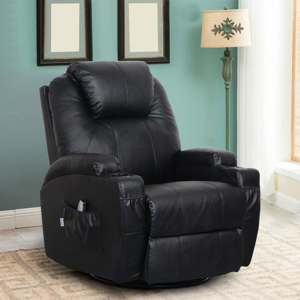 a black leather recliner