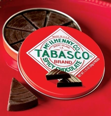 tin of chocolate with tabasco label