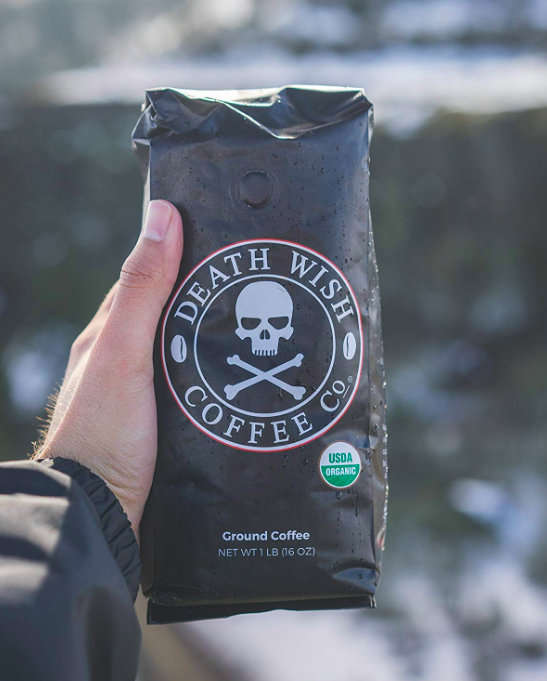 Bag of coffee beans with skull logo