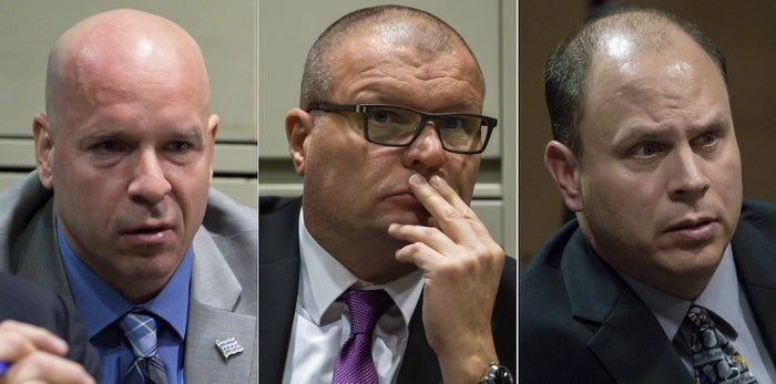 From left: Former Chicago police officer Joseph Walsh, former detective David March, and former officer Thomas Gaffney.