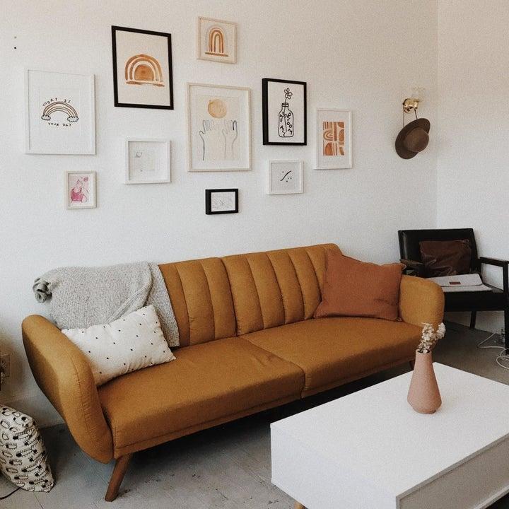 Reviewer image of tan futon