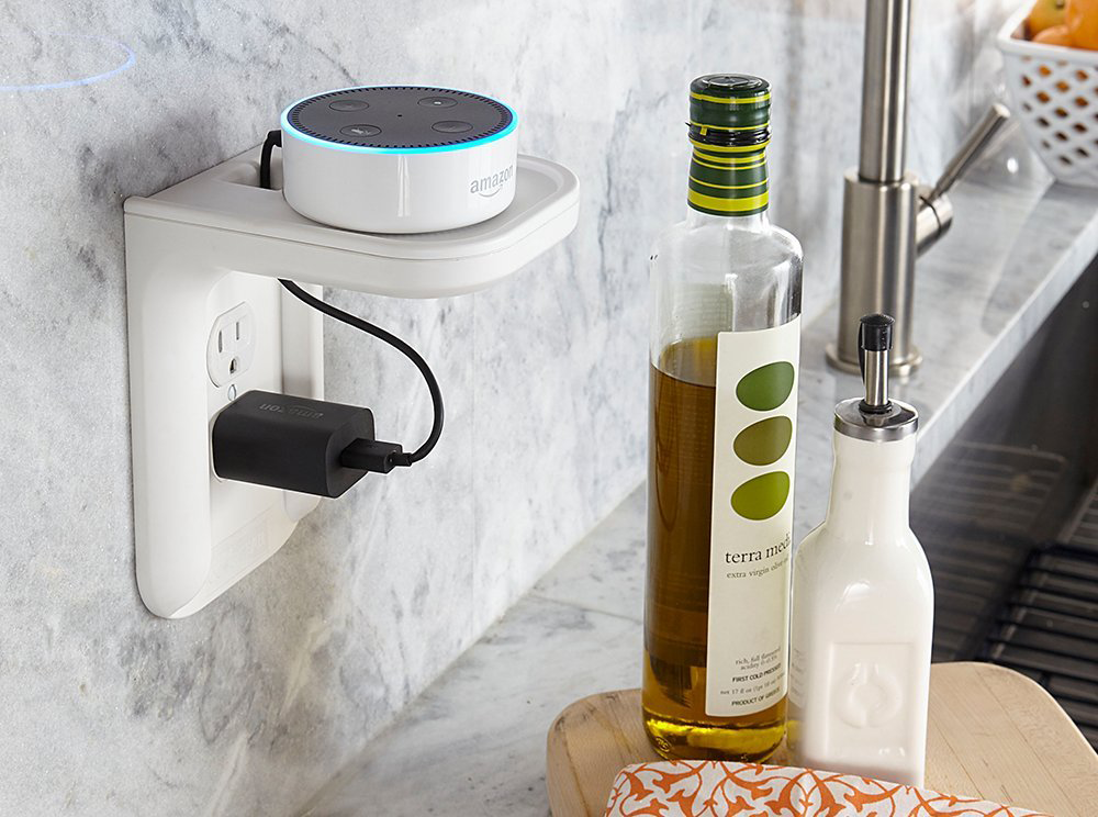 The shelf holding an Amazon Dot