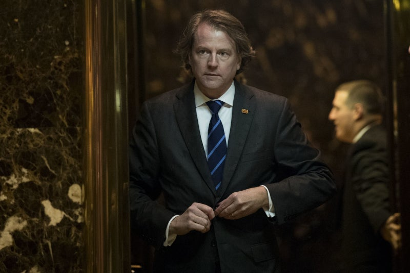 "Former White House counsel Donald F. McGahn II in the lobby of Trump Tower in 2016. His attorney told BuzzFeed News that McGahn ""had no involvement with or knowledge of Michael Cohen's testimony. Nor was he aware of anyone in the White House Counsel's Office who did."""