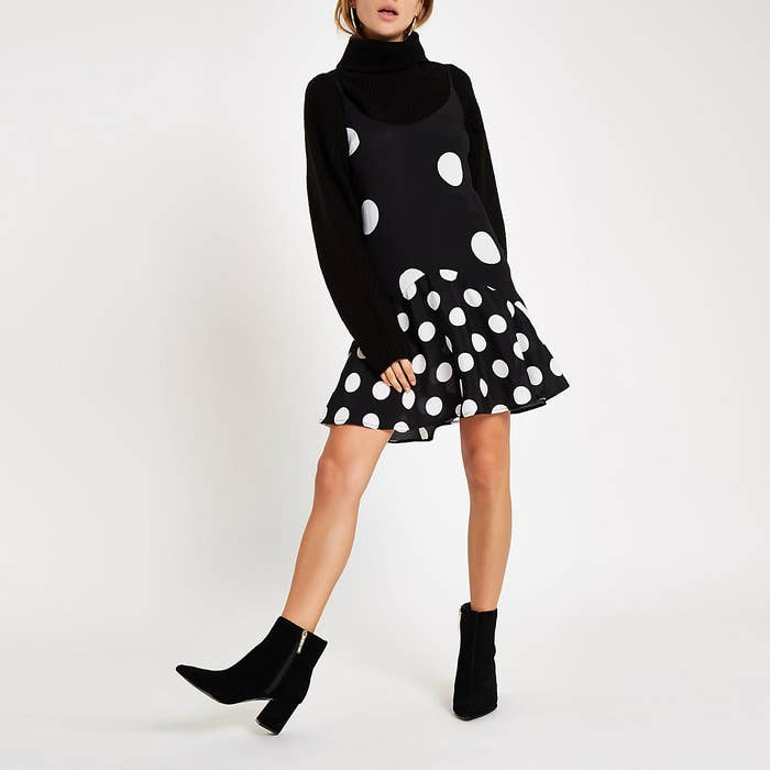 21eea65fe07 A polka dot slip you can bet your bottom dollar will look extremely stylish  over your favorite turtleneck.