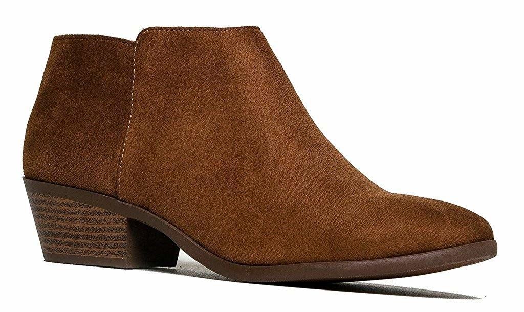 the brown booties with a chunky heel