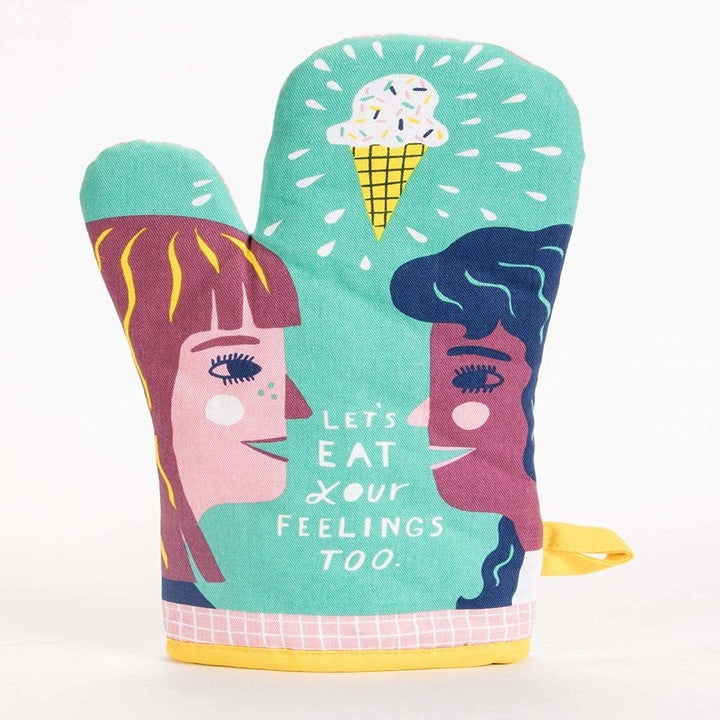 oven mitt with two characters that said let's eat our feelings too