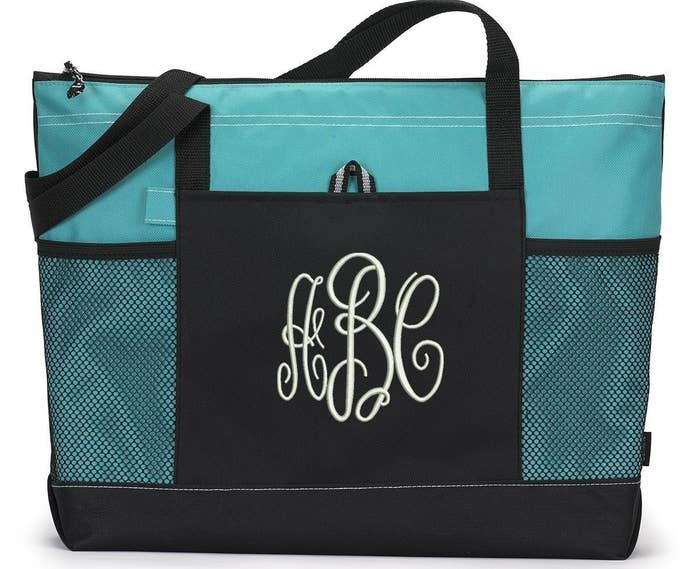 A practical tote with a monogram that can be used for the beach 202a89e60d1fa