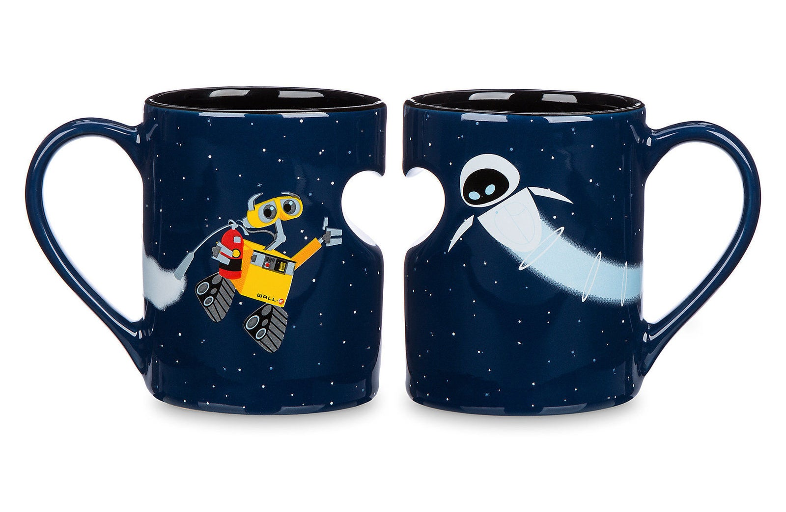 two space mugs next to each other with wall-e and eve and a half heart cut-out