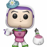 buzz lightyear dressed in an apron and hat holding tea set