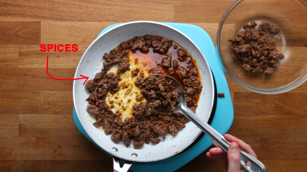 So, what makes Snoop's recipe better than your average nachos? First of all, he adds a  ton  of spices to his ground beef to kick it up a notch.
