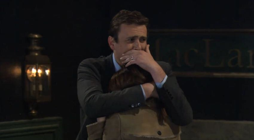 In  How I Met Your Mother , when Lily told Marshall his father passed away. -  It was so sad to watch because Marshall and his dad had such a loving relationship and it was obvious to the viewer how much the news shattered him.