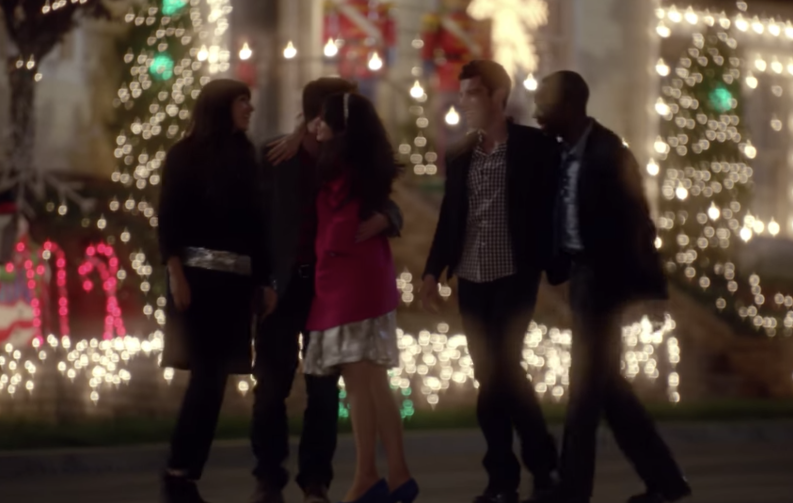 In  New Girl , when the gang goes to Candycane Lane and shouts for everyone to turn their lights on in order to cheer Jess up. -  The moment when all the houses start lighting up gets me every time.