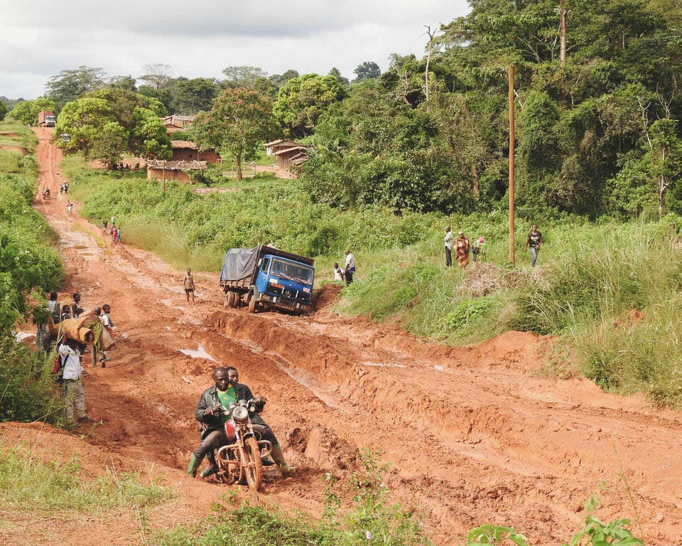 The road to Lobéké National Park in Cameroon.