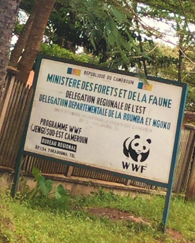 A sign outside the program office near Lobéké National Park.