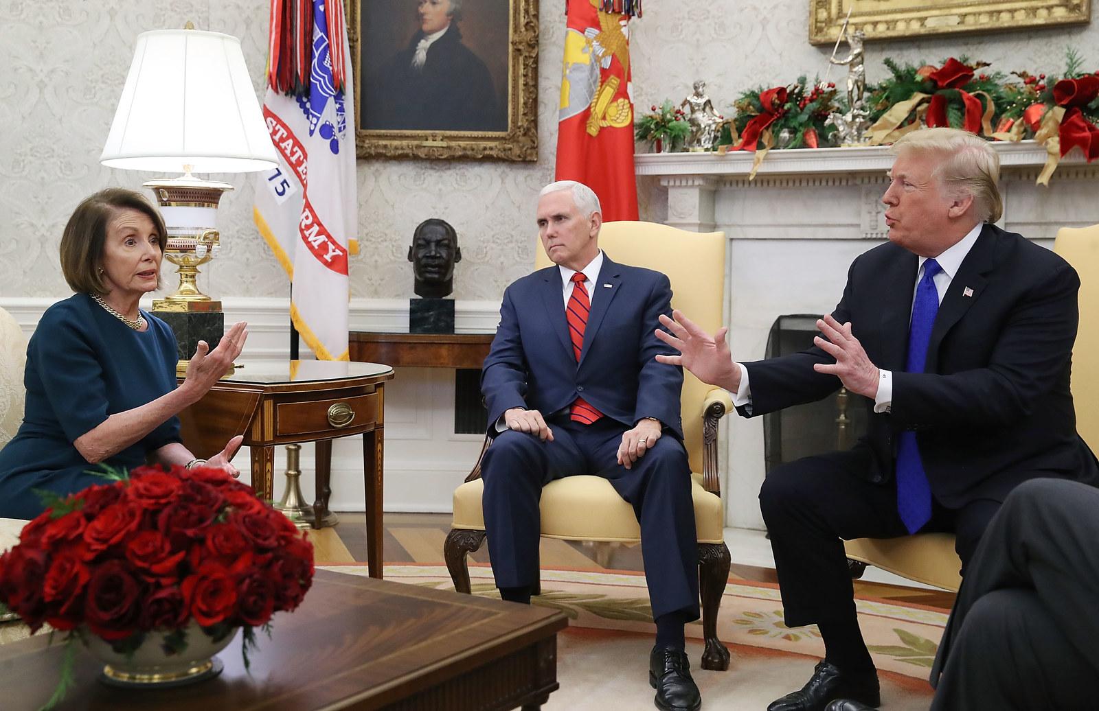 President Donald Trum, Vice President Mike Pence, and Speaker Nancy Pelosi in December.