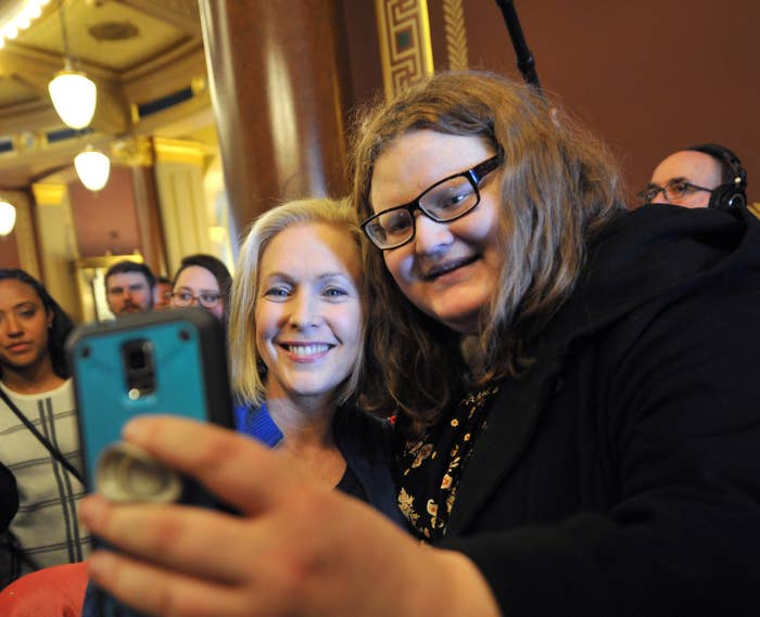Kirsten Gillibrand pictured with Kyla Paterson.