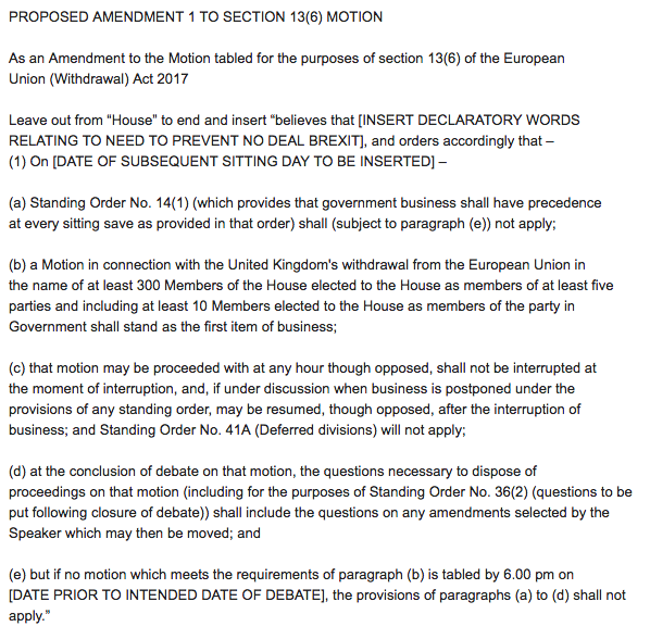 The proposed amendment being drawn up by rebel MPs including Dominic Grieve.