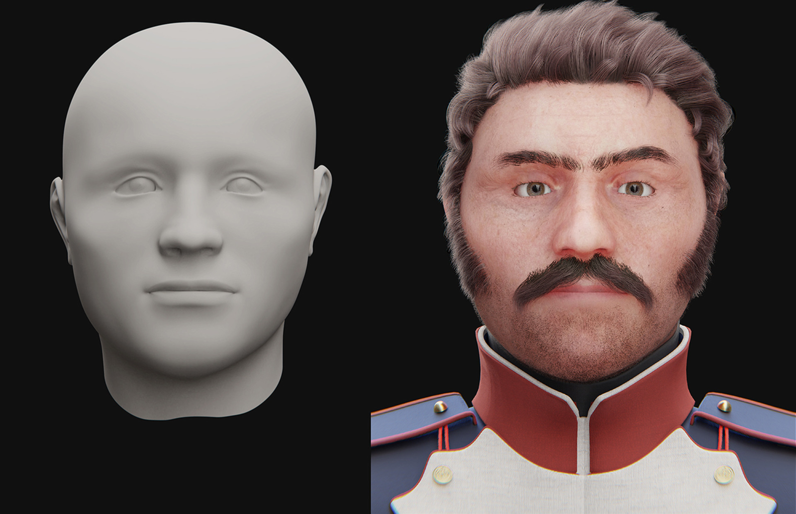Facial reconstruction of the soldier.