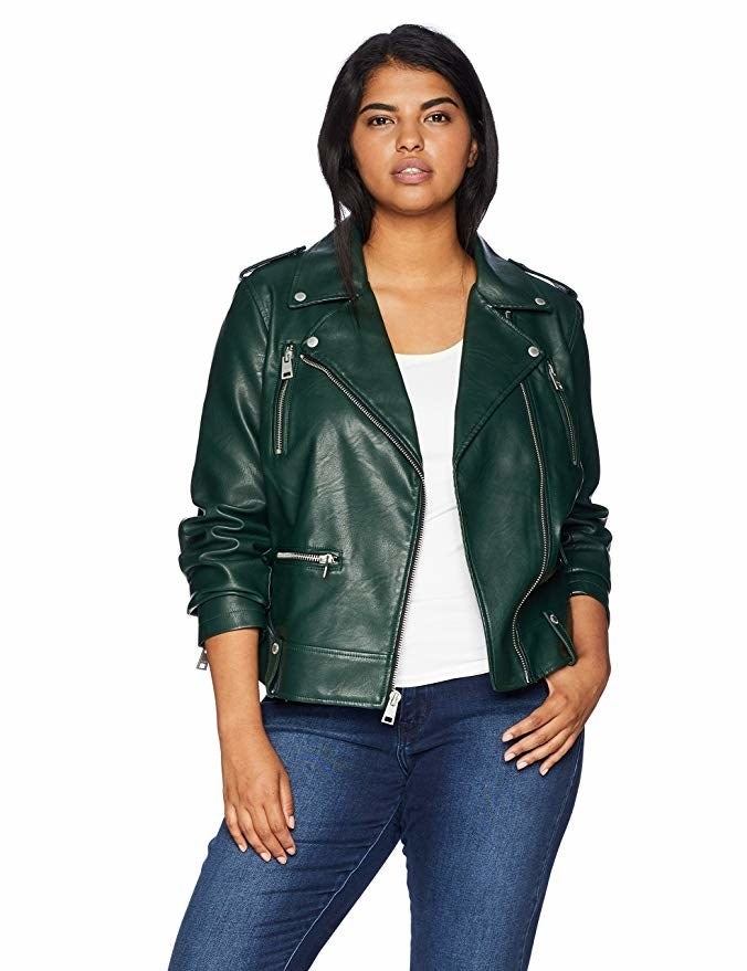 "Promising review: ""This is very cute. It looks like real leather. It's not as bulky as many moto jackets. It's edgy without being over the top. The green is an unexpected but great color. I think I will really enjoy this!"" —RAPGet it from Amazon for $79.99+ (available in sizes XS-XL in six colors and sizes 1X-3X in three colors)."