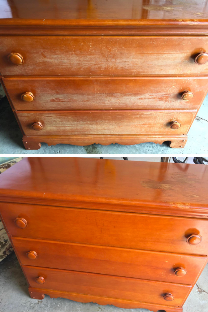 before: a chest of drawers with a faded finish on the front; after: the same drawers now with a seamless uniform finish