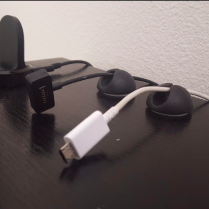 A reviewer's setup with several of the clips holding cords