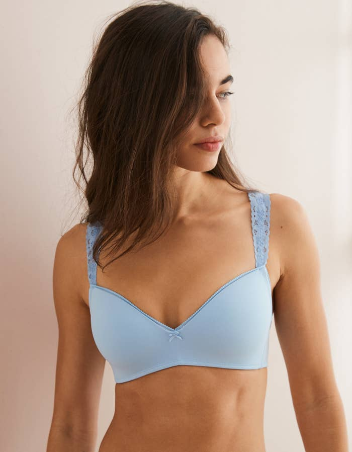 b0bbb54f55 A wireless push-up bra with lace straps for the perfect mix of comfort and  sexy that you can wear all day.