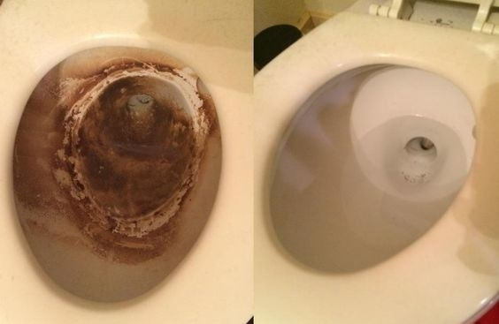 on the left a reviewer's toilet with intense dark brown stains, on the right the same toilet looking mostly white again