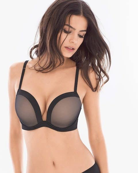 4dc64cc12c465 A convertible push-up bra to give you a super plunge silhouette with  seamless underwire memory foam contour cups and six-way convertible straps.