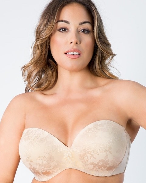 1f7776d8f2 A plus-size floral multi-way bra with a cushioned underwire