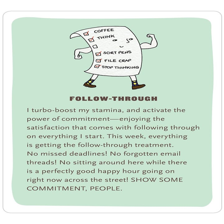 """The card about """"follow-through"""" with an illustration of an anthropomorphized to-do list"""