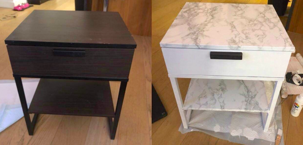before: brown side table, after: the table now white, with marble-look contact paper on the shelf and top