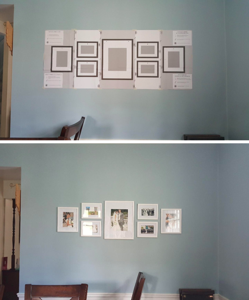 reviewer's wall before, with paper template hung for nail placement, and after, with the framed photos hung where the templates were