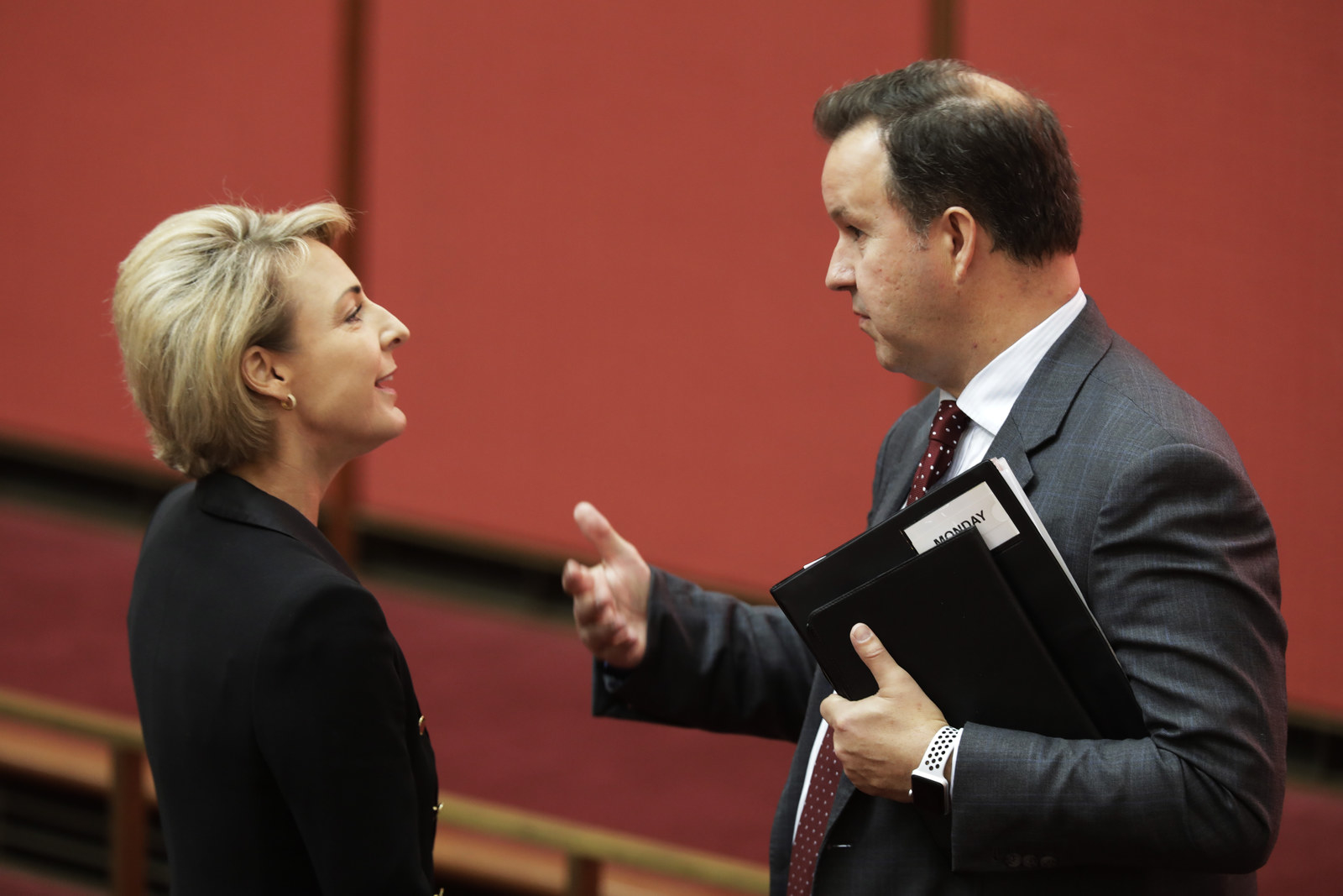 Small business minister Michaelia Cash and David Bushby.