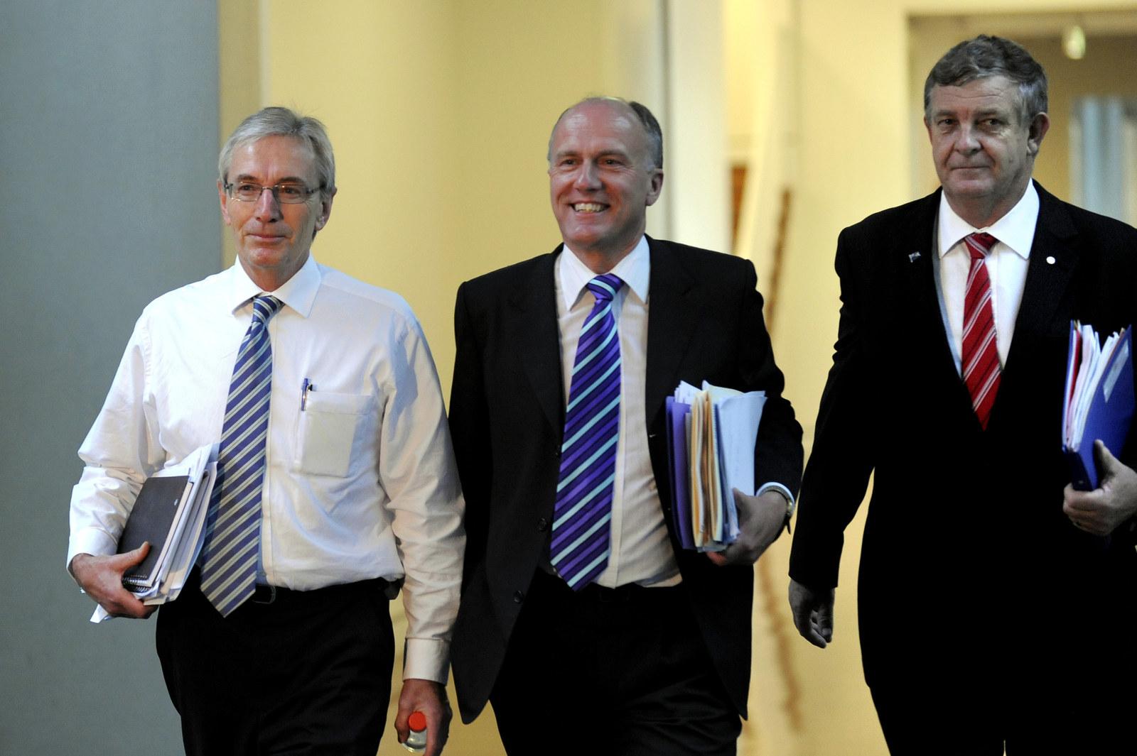Nick Minchin with Liberal senator Eric Abetz and former senator Chris Back.