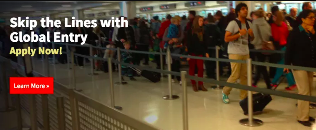 """A graphic showing customs lines with the text """"Skip the lines with Global Entry"""""""