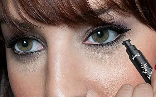 """Promising review: """"I have very hooded eyes and this works great still! Make sure you give extra time to dry though. It's humid and 85 degrees today and I went to a party and spent time outside and sweated, and this eyeliner didn't budge! Also, I love how I can do cat eyes for the first time in my life! I'm not great at doing makeup but this made it easy! Very satisfied."""" —hklepGet it from Amazon for $10.99+ (available in three wing sizes)."""