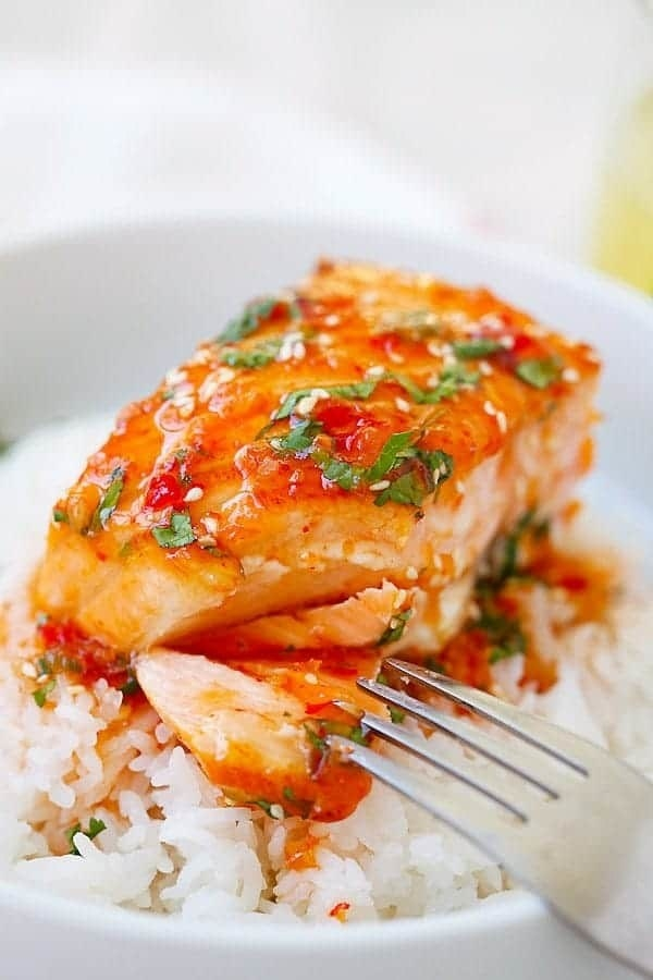 An easy glaze made with sweet chili sauce, lime juice, oil, and cilantro takes this salmon to the next level. Get the recipe.