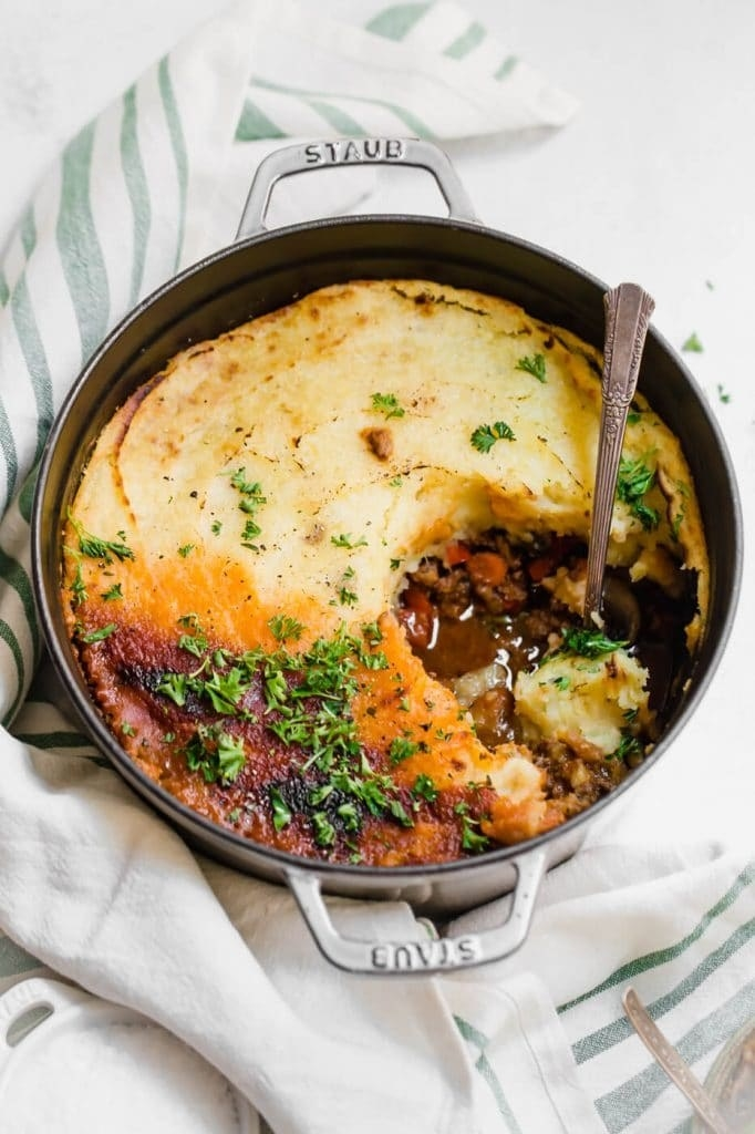 Combined with coconut milk and plenty of garlic, either russet or sweet potatoes make a delicious topping in this Whole30-approved shepherd's pie. Get the recipe.