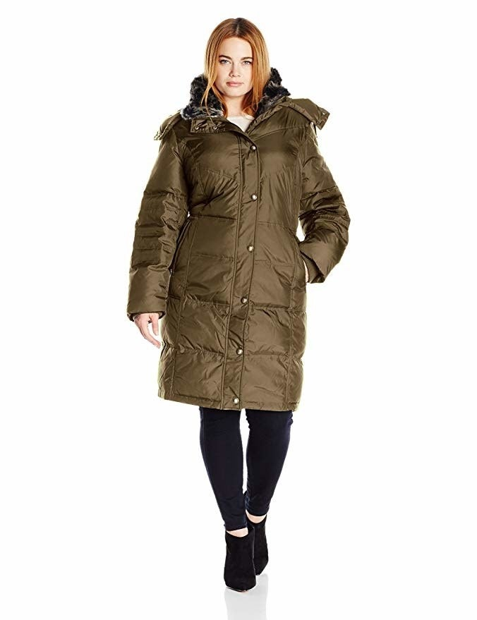 """Promising review: """"Love this coat! It's warm, comfortable, and looks expensive. I was lucky enough to get it on sale, but honestly, it is worth the full price. It's a teeny bit roomy, but it doesn't look sloppy. All in all, an excellent coat. I've worn it out a few times and have received compliments from strangers when wearing it."""" —JaNiece RushGet it from Amazon for $98.11+ (available in sizes 1X–3X and two colors)."""
