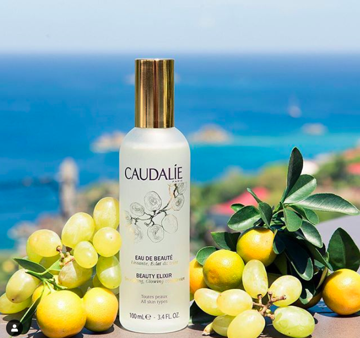 An Instagram picture of a bottle of Caudalie Beauty Elixir