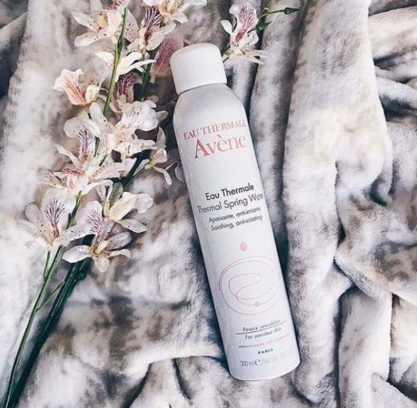 An Instagram photo of a bottle of Eau Thermale Avène thermal spray