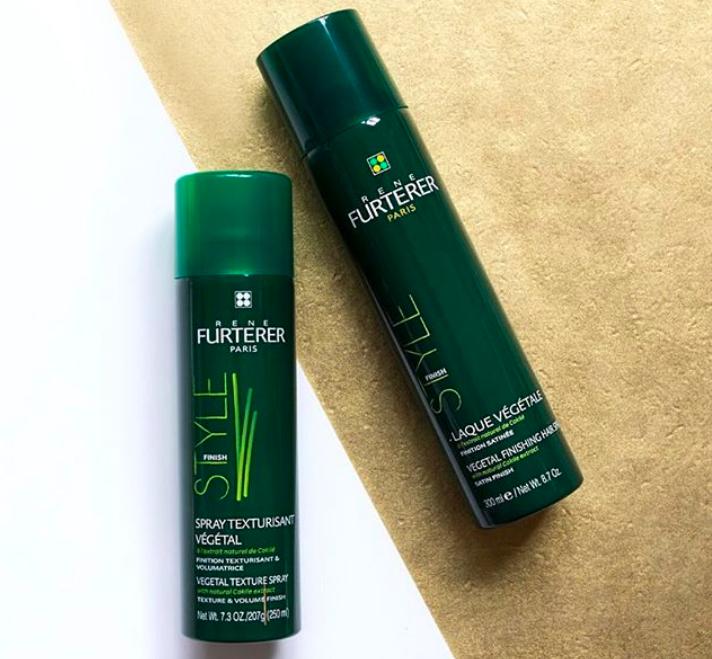 An Instagram picture of two bottles of Rene Furterer Vegetal Finishing Spray
