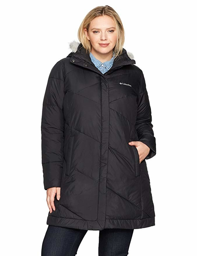 "Promising review: ""This coat is pricey but it will last a long time. It's a great jacket and it's very warm. Also, it's water-resistant. It has a slightly fitted shape in the waist and covers my butt very well. It doesn't suffocate my arms/shoulders as most coats do and I am very comfortable wearing this."" —S. M. Get it from Amazon for $139 (available in sizes 1X–3X and six colors)."