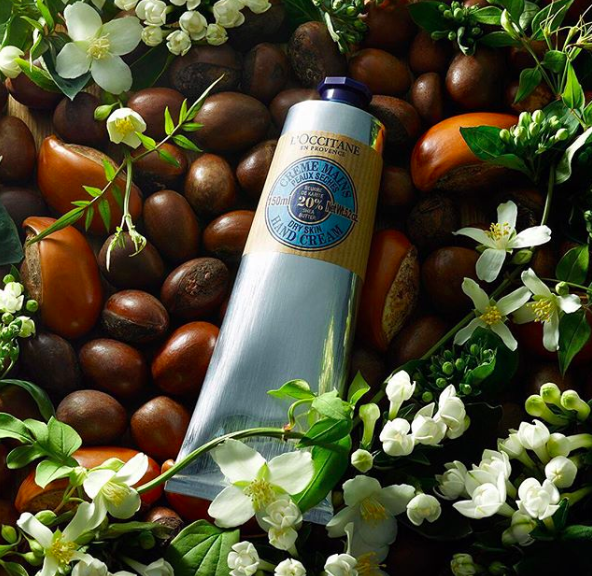 An Instagram picture of a tube of L'Occitane shea butter hand cream