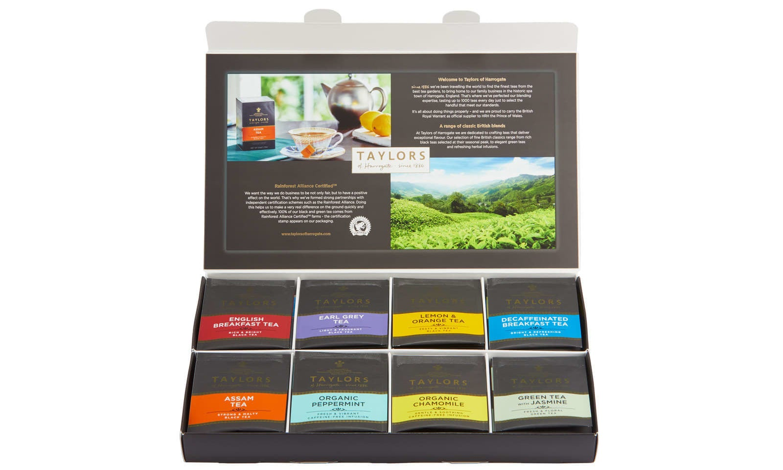Includes eight varieties: English breakfast, Earl grey, lemon and orange, decaf breakfast, Assam, organic peppermint, organic chamomile, and green tea with jasmine.Get them from Walmart for $11.49.