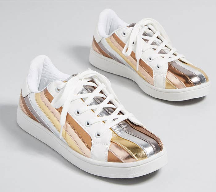 a37fabbba39f Retro-inspired metallic sneakers whose motto is