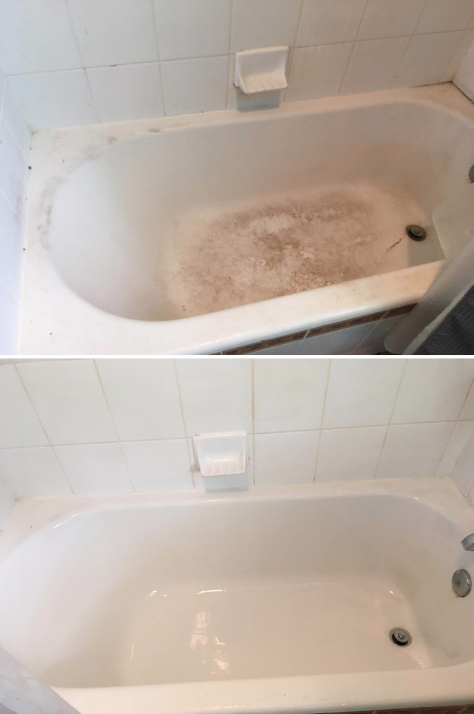 a bathtub before: dull and covered in stains from age and use and after: the same bathtub, now clean, shiny, and looking almost new