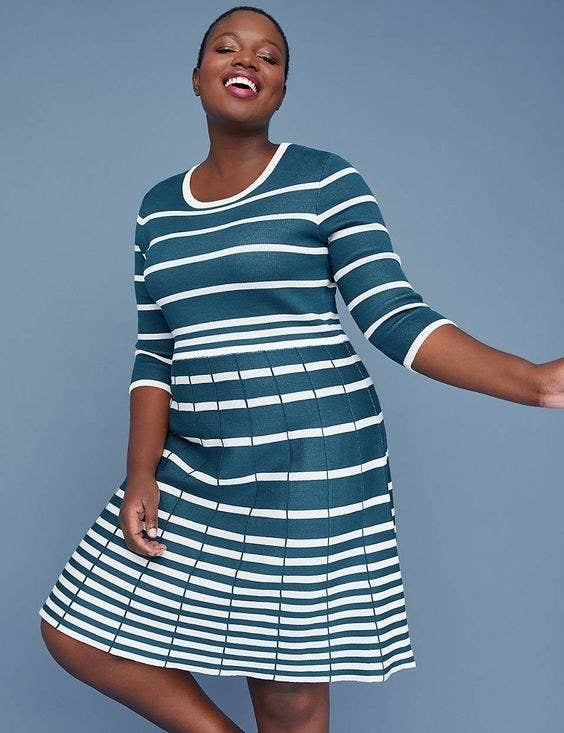 4fb876ff070 A striped flared dress so you can win Best Dressed at the office without  ever even thinking about wearing a suit. Promising review  ...